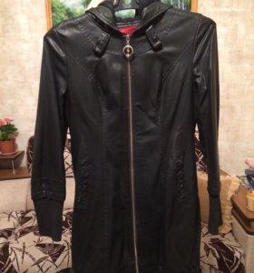 Куртка кожаная, удлиненная