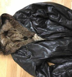 Куртка кожаная, волк натуральная