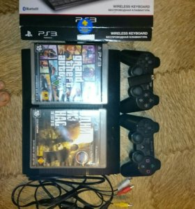 PS3 500g два джойстика,клавиатура,