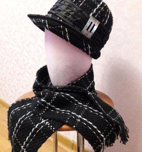шапка с шарфом (новые)