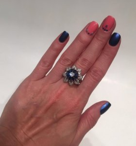Кольцо с синими камнями, бижутерия