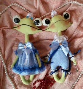 Лягушки текстильные пара