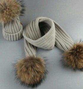 Комплект шапка и шарф новый