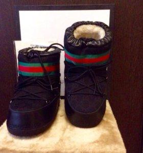 Сапоги луноходы Gucci Moon Boot (Black)