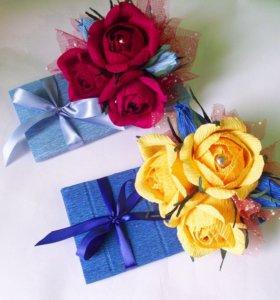 Плитка шоколада украшенная цветами ручной работы