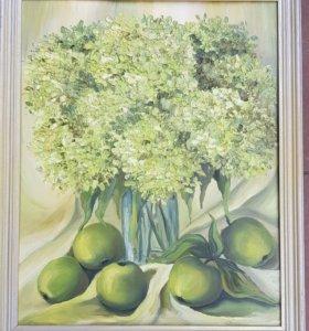 """картина маслом """"Натюрморт гортензия с яблоками"""""""