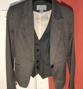 Пиджак + жилетка серые H&M