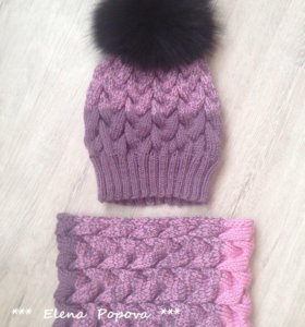 Комплект шапочка и снуд ручной вязки .
