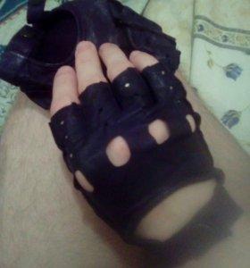 Перчатки  митенки (кожа)