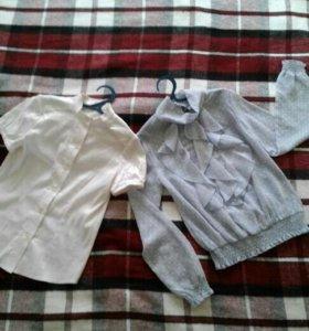 Блузы на девочку рост 140-150.Цена за две блузочки