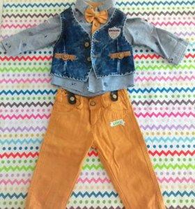 Костюмчик для мальчика (брючки,рубашка и жилет)