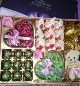 Сладкий Подарочный Набор С Розой и Мишкой