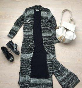 Платье,вязаная кофта,рюкзак