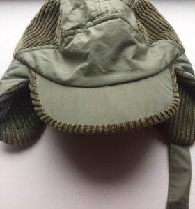 Тёплая шапка ушанка с козырьком для мальчика