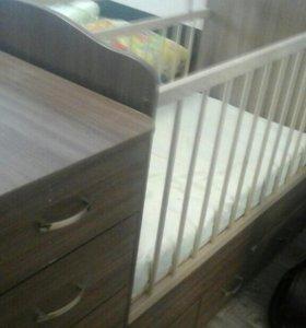 Кроватка-трансформер+матрас запакованый в подарок