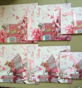 Набор подарочных пакетов для новорожденной девочки