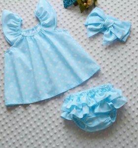 Хлопковый набор: платье, трусики, повязка