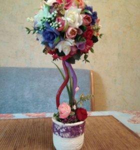 Топиарий (цветы в горшке, дерево счастья)