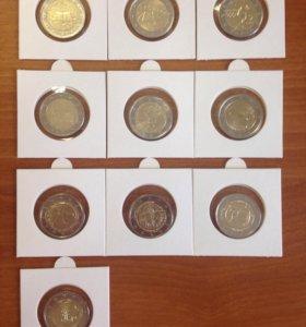 Юбилейные 2 Euro в холдерах