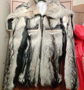 Куртка зимняя кожа+мех волка