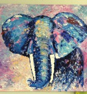Картина маслом Слон холст лен