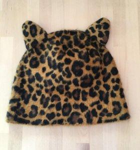 Зимняя ангора Шапка кошка леопардовая с ушками h&m