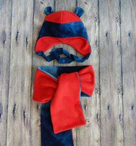 Детская шапка шарф флис