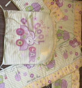 Бортики ,постельное белье на кроватку,полотенце
