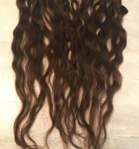 Волосы натуральные на заколках 55 см