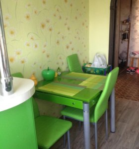 Стол стеклянный обеденный и стулья 4 шт