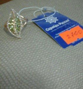 кольцо серебро позолоченое