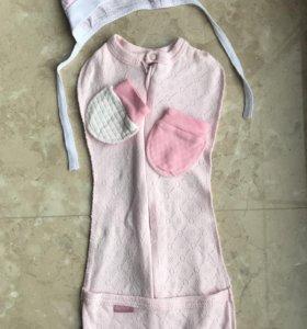 Пеленка-кокон на молнии розовая Трия новая