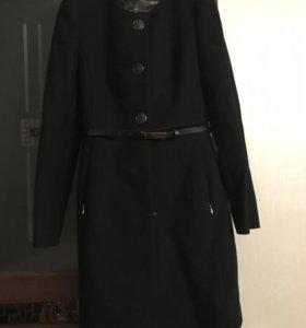 Шерстяное пальто, чёрное, р.42-44