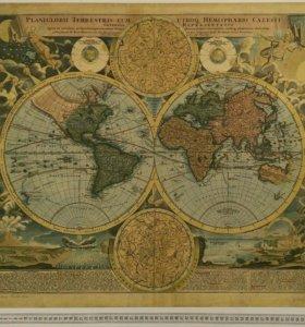 Репродукция карты мира 1716г Иоганна Гомма 70*61см
