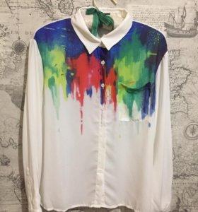 Рубашка с акварельным принтом