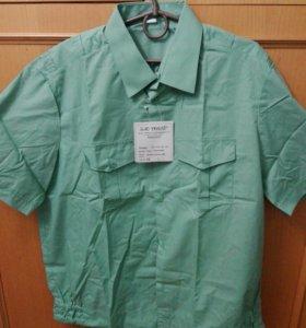 Оливковая рубашка с коротким рукавом приставы