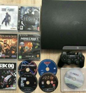 Sony PlayStation 3 + набор игровых дисков.