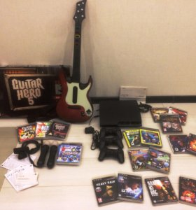 Playstation 3 + move + guitar hero + игры 17