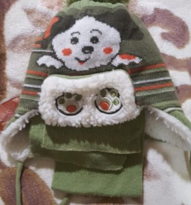 Шапочка и шарфик, размер до года.