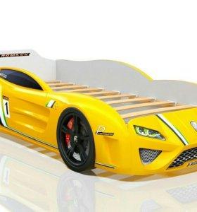 Кровать-машина SportLine жёлтая