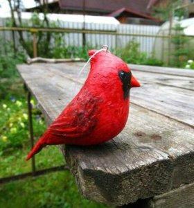 Красный кардинал, елочная игрушка, папье-маше