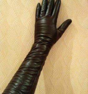 Кожаные перчатки женские (до локтя)