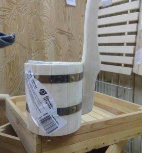 Ковш деревянный 0,6л с вертик.ручкой/баня/сауна