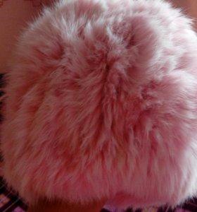 Шапка женская, розового цвета, кролик