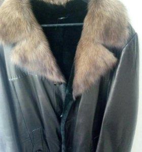 Кожаная зимняя куртка новая 52-54