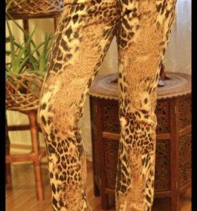 Брюки леопардовый принт