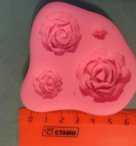 Силиконовый молд розы 4 шт