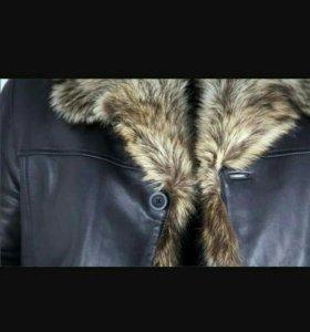 Френч кожаная куртка зимняя