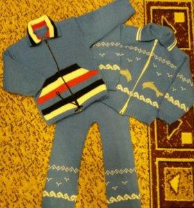 Костюм вязаный детский 2 кофты 1 штаны