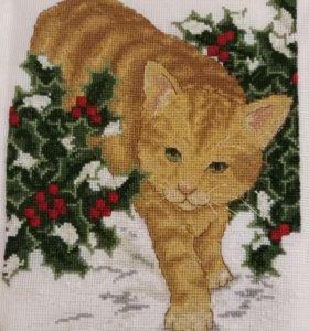 Вышивка крестом рыжий кот